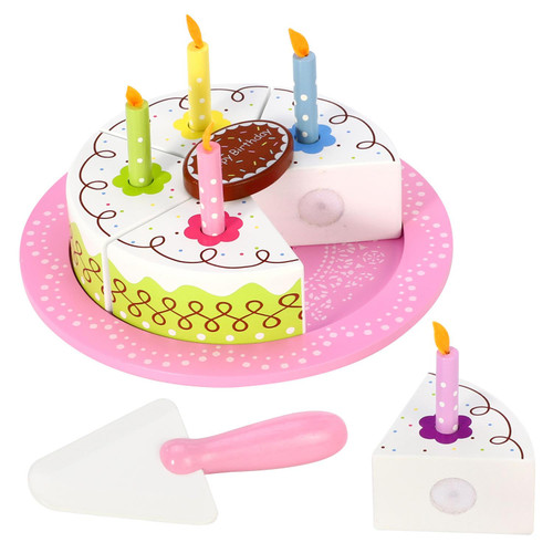 SOKA Wooden Birthday Party Cream Cake Pretend Role Play Toy Food Set for Children - 5 Cake Slices, 5 Removable Candles, Chocolate Decoration, Cake Slicer & Plate.