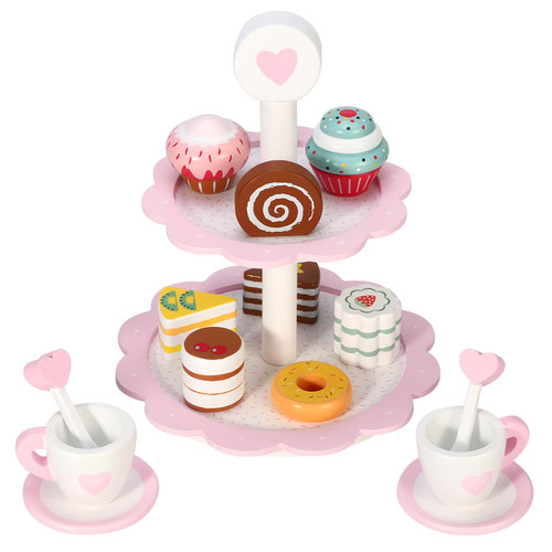 SOKA 18PC Wooden Dessert Cake Stand with Muffins, Cakes and Donuts Dessert Tower Afternoon Tea Wooden Tea Set for Children 3+