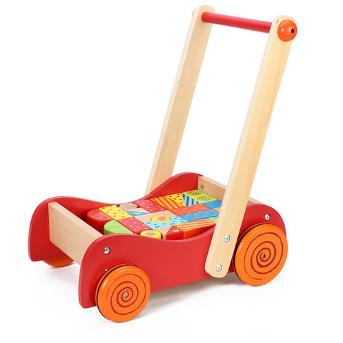 SOKA [30 Blocks] Wooden Baby Walkie Walkie Walker With Wooden Building Blocks For Toddlers
