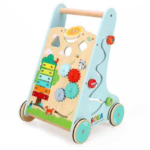 SOKA 5PCs Wooden Wood Children Kids Toddler Forest Activity Walker Toy