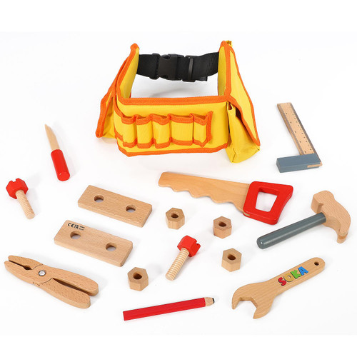 SOKA Wooden Carpenter's Tool Belt with Wooden Tools - Pretend Play Builder Tool Belt Preschool Learning Toy - 16 pieces