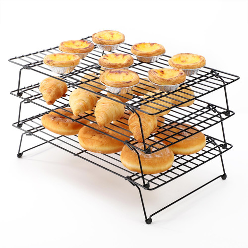 Vinsani Set of 3 High-Carbon Steel Tier Non-Stick Cooling Rack, Collapsible & Expanded Wire Rack Cooling Oven Tray