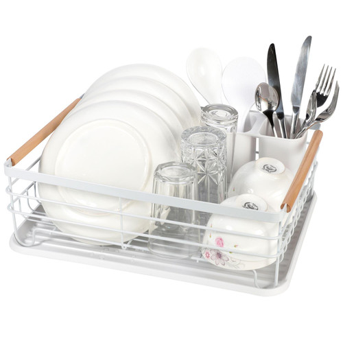 Vinsani Deluxe Dish Drainer Drying Rack with Wooden Handles Drip Tray Draining Board and Removable Cutlery Holder, Minimalist Dish Rack, 42.5 x 30.5 x 14cm