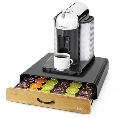Vinsani 36 Capsules Coffee Pod Storage with Sliding Drawer - Stackable Holder Tray Organiser Box for Dolce Gusto Nespresso Coffee Pods Non-Slip Surface Place for Coffee Machine