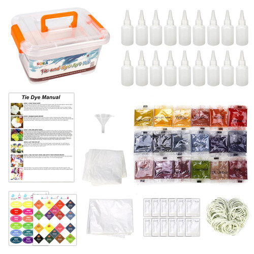 SOKA Tie Dye Party Kit – 18 Vibrant Colours Permanent Non-Toxic Fabric Dye Complete Tie Dye Art Set for Creative Homemade DIY Craft Party Activities Games Perfect as Gift for Girls Kids Family