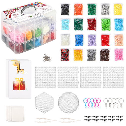 SOKA Iron Beads Kit – 16000pcs with 20 colors All in One Bead Art and Craft Set Creative Fun DIY Activity Fuse Bead Melting Craft Kit Toy with Storage Box for Kids Girls Boys