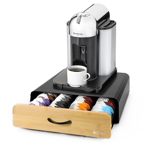 Vinsani 64 Capsules Coffee Pod Storage with Bamboo Brown Sliding Drawer - Stackable Holder Tray Organiser Box for Dolce Gusto Nespresso Coffee Pods Non-Slip Surface Place for Coffee Machine