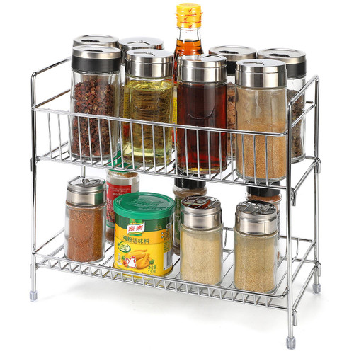 Vinsani 2 Tier Free Standing Spice Rack - Cupboard Wall Kitchen Counter Storage Organiser Holder Perfect for Spice Jars, Herb Seasonings and Bottled Condiments
