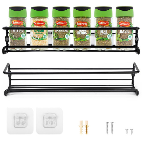 Vinsani Spice Racks Organiser – 1-6 Tier Flexible Herb & Spices Wall Mounted Hanging Storage Rack with Adhesive Stickers & Screws – for Kitchen Walls Pantry Inside Cupboard Cabinet Door