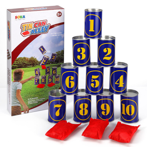 SOKA Tin Can Alley Game 10 Metal Tins & 3 Bean Bags – Indoor Outdoor Party Garden Games Activities for Kids & Adults – Birthday Christmas Easter Family Fun Games