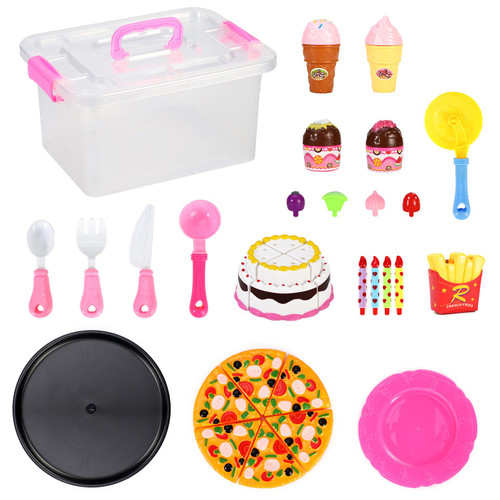 SOKA Pizza, Ice Cream & Cake Pretend Play Toy Set Food Playset for Kids Children Girls Boys 23PCS Complete Set Role Play Early Educational Development Perfect Gift for Birthday Christmas 3+