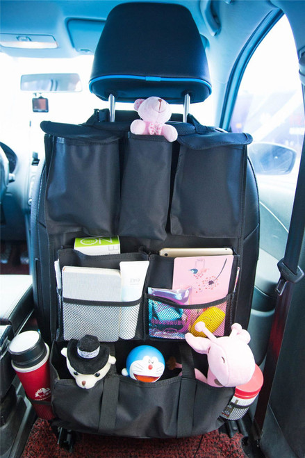 2 X Vinsani Deluxe Multi Pocket Hanging Car Back Seat Pouch Organiser - Black