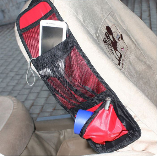 Vinsani Car Multi Side Pocket Seat Storage Hanging Bag Organise Pouch - Red