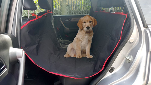 Vinsani Heavy Duty Waterproof 2 in 1 Car Rear Back Seat Boot Cover Pet Dog Protector Mat Liner - Red & Black - 146 x 146 cm