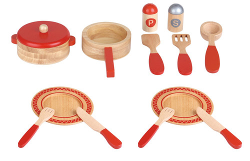 Lelin 14 PC Wooden Kitchen Red Cooking Set Pretend Role Play Set for Children