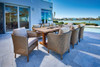 Visions Outdoor Wicker Dining Set with Teak Live Edge Table By Lloyd Flanders