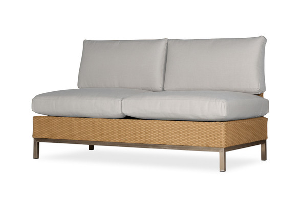 Elements Armless Settee with Loom Back By Lloyd Flanders
