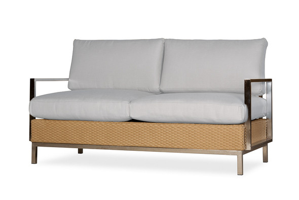 Elements Settee with Stainless Steel Arms & Back By Lloyd Flanders