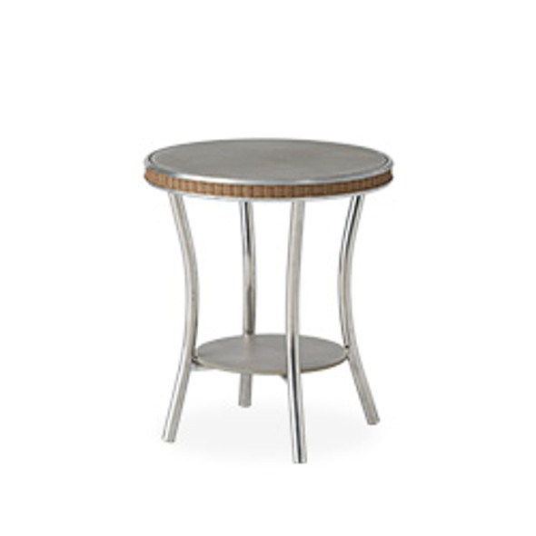 "Essence 20"" Round End Table with Taupe Glass By Lloyd Flanders"