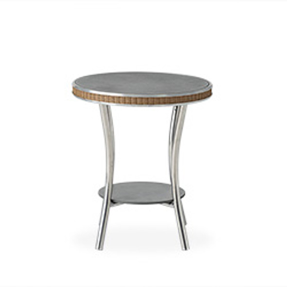 "Essence 20"" Round End Table with Charcoal Glass By Lloyd Flanders"