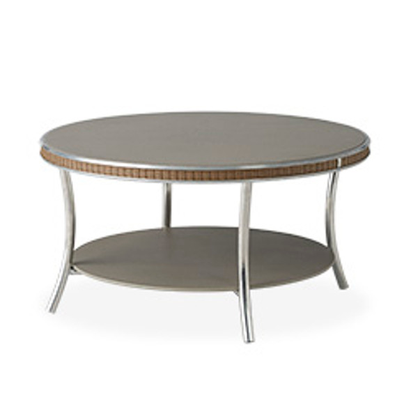 """Essence 33"""" Round Cocktail Table with Charcoal Glass By Lloyd Flanders"""