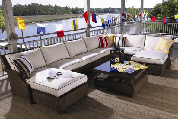 """Hamptons 37"""" Square Cocktail Table by Lloyd Flanders"""