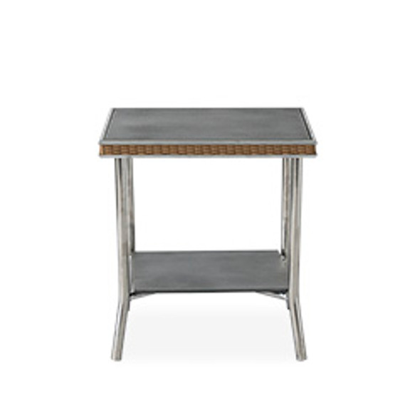 "Visions 20"" Square End Table with Charcoal Glass by Lloyd Flanders"