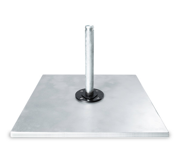 Galvanized Steel Matte Silver  Square Double Plate Stack by Frankford Umbrella