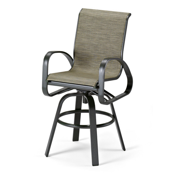 Primera Sling Bar Height Swivel Arm Chair By Telescope