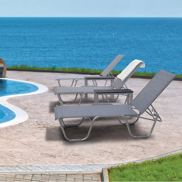 "Gardenella Sling 16"" Four-Position Lay-flat Stacking Armless Chaise By Telescope"