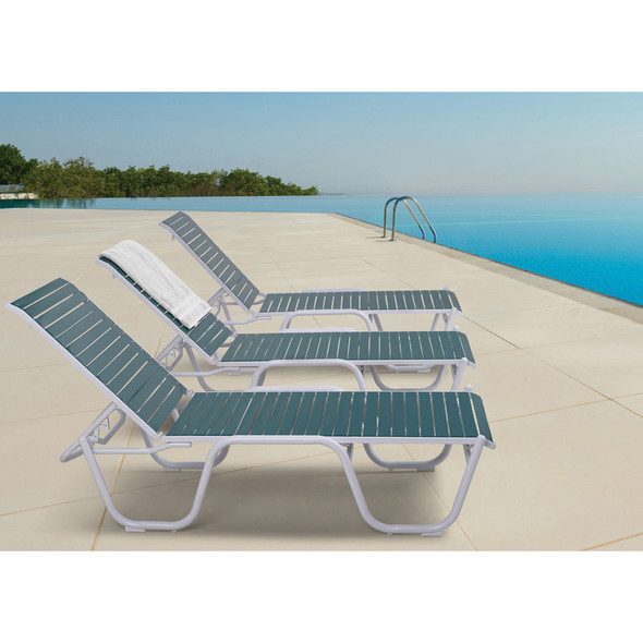 "Reliance Contract Strap 16"" Four-Position Lay-flat Stacking Armless Chaise By Telescope"