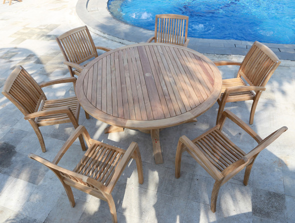 Daytona Teak Dining Table Set 7Pc