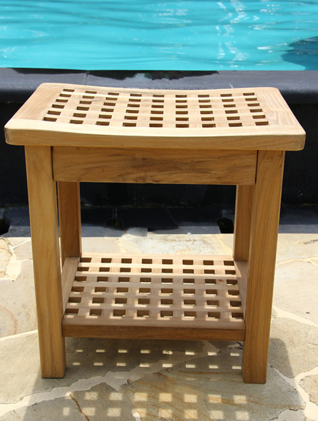 Checkerboard Teak Shower Bench by Classic Teak