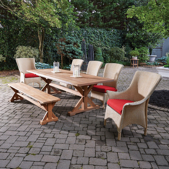 Mandalay Wicker and Teak Patio Dining Set By Lloyd Flanders