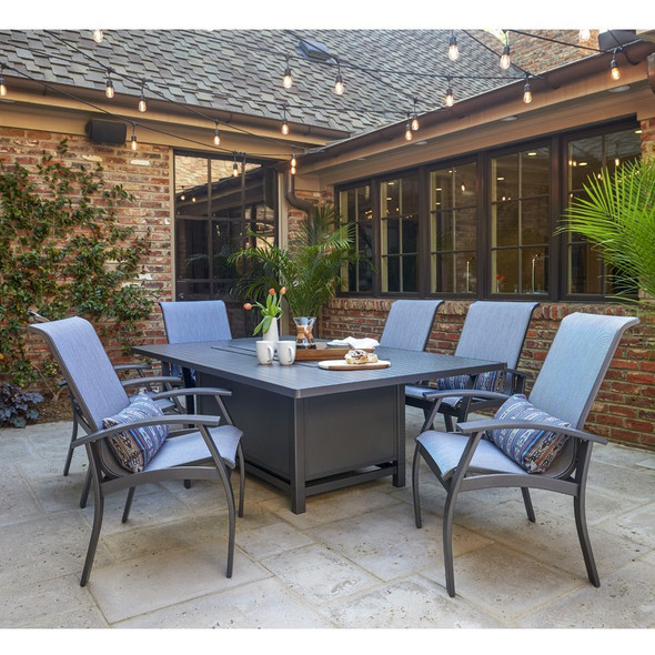 Belle Isle Sling Dining Set with Fire Table By Telescope Casual