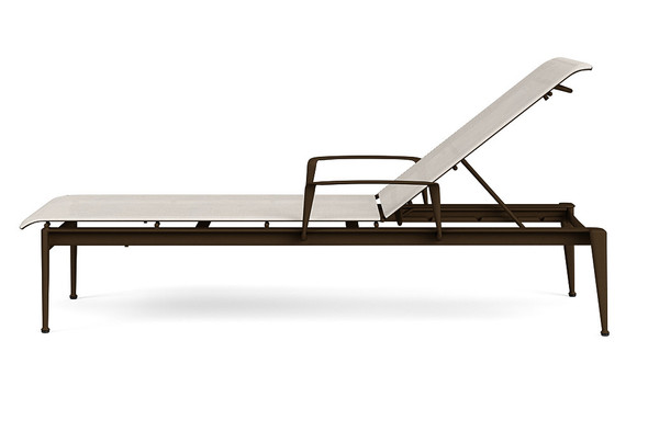 Flight Sling Stacking Flat Adjustable Chaise with arms By Brown Jordan