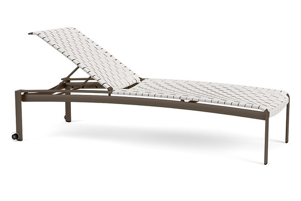 Softscape Strap Stacking Flat Adjustable Chaise with  Wheels By Brown Jordan