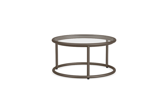 "Water Lamb Aluminum 20"" Round Occasional Glass Table By Brown Jordan"