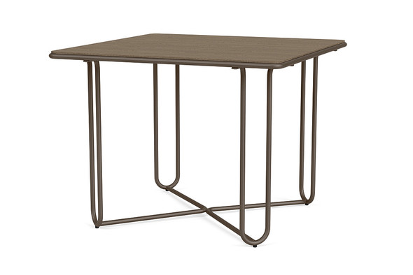 "Water Lamb Aluminum 38"" Square Dining Table With Wooden Top By Brown Jordan"