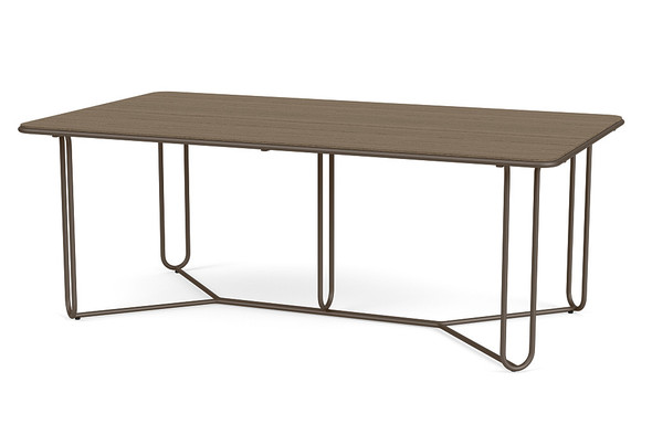 "Water Lamb Aluminum 43""X77"" Rectangle Dining Table With Wooden Top By Brown Jordan"
