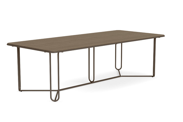 "Water Lamb Aluminum 43""X97"" Rectangle Dining Table With Wooden Top By Brown Jordan"