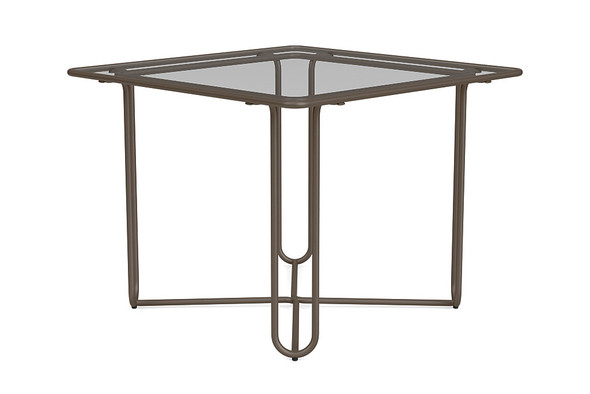 "Water Lamb Aluminum 38"" Square Dinning Table With Glass Top By Brown Jordan"
