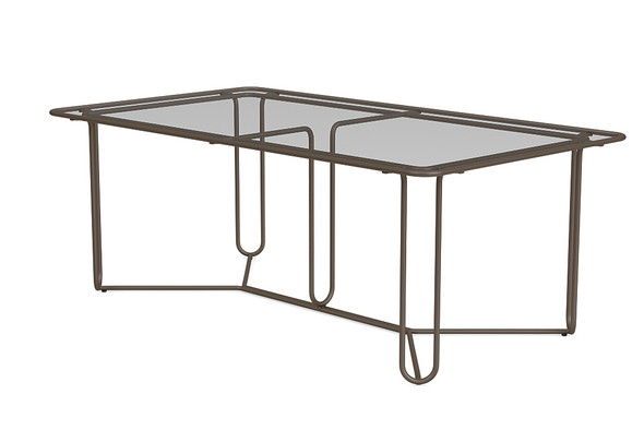 "Water Lamb Aluminum 43""X77"" Rectangle Dinning Table With Glass Top By Brown Jordan"