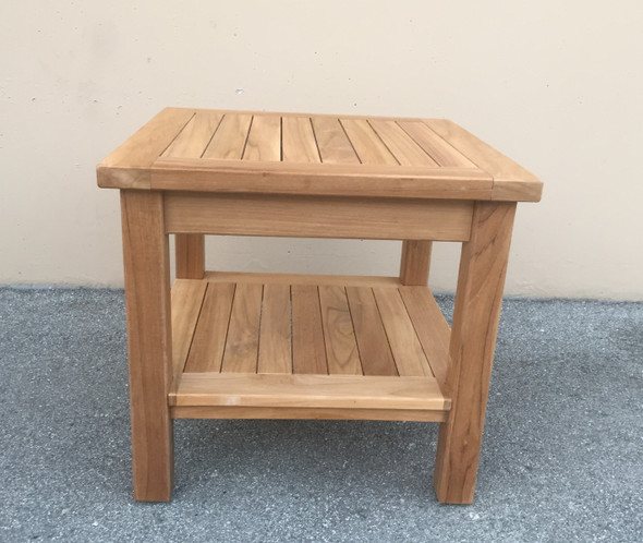 "Teak Side Table 20"" Square w/ Rack by Classic Teak"