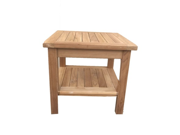 "Teak Side Table 20"" Square w/ Rack by Classic Teak"