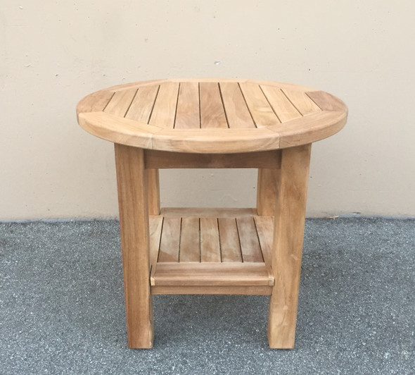 "Teak Side Table 20"" Round w/ Rack by Classic Teak"