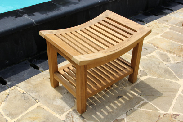 Curved Teak Shower Bench by Classic Teak