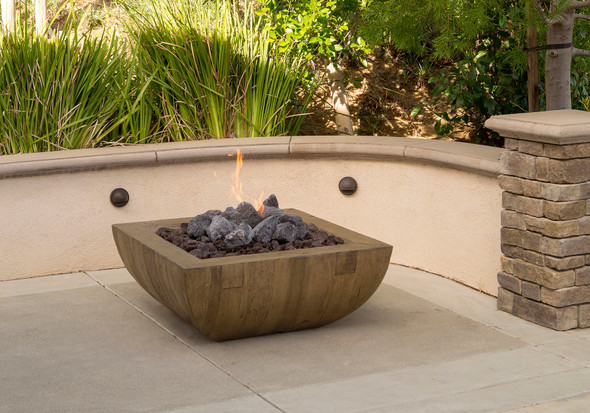 Reclaimed Wood Bordeaux Sq. Fire Bowl by American Fyre Design