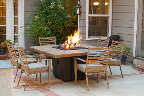 Reclaimed Wood Cosmo Sq. Dining Fire table by American Fyre Design