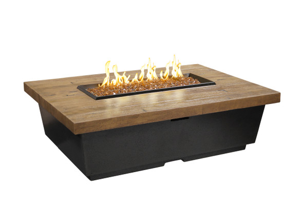 "52"" Chat Height Reclaimed Wood Contempo Rectangle Firetable by American Fyre Design"